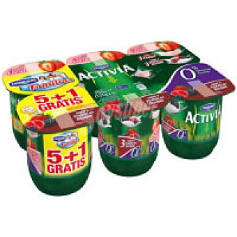 ACTIVIA DE DANONE Yogur 0% fresa / frutas del bosque Activia Pack de 6x125 g