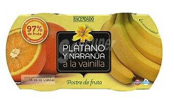 Hacendado Postre fruta platano naranja a la vainilla tarritos refrigerados Pack 2 x 130 g - 260 g
