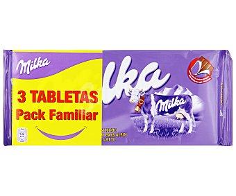 Milka Chocolate con leche Pack de 3 unidades de 125 gramos