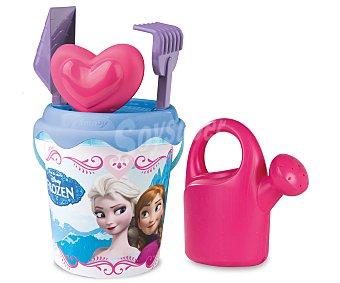 Disney Conjunto de juguetes de playa (pala, rastrillo, regadera...) y un cubo para transportalos y guardarlos con el diseño de las princesas de Frozen Set playa cubo Frozen