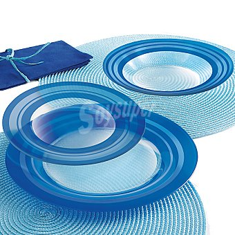 LUMINARC Loop Vajilla de vidrio 18 piezas para 6 servicios en color azul