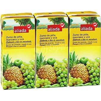Aliada Zumo de piña manzana y uva elaborado a base de concentrado Pack 3 envase 200 ml