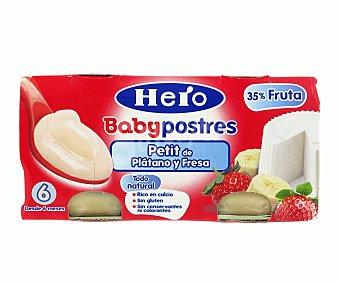 Hero Babypostres petit de plátano y fresa tarrito 2x80 gr