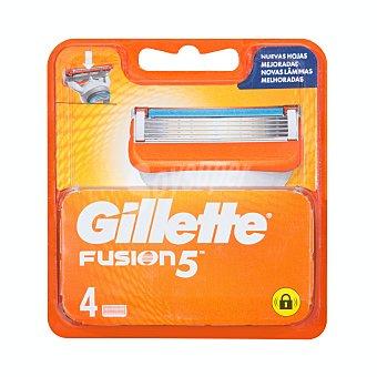 Gillette Fusion Recambio de cuchillas de cinco hojas para maquinilla de afeitar 5 Power 4 uds
