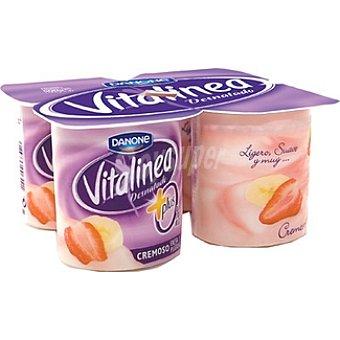 Vitalínea Danone Yogur desnatado 0% plus cremoso sabor fresa y plátano Pack 4 envase 125 g