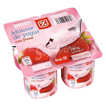 DIA Mousse yogur fresa Pack 4 unidades 70 g