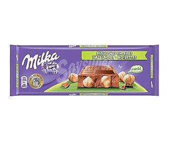 Milka Chocolate con Leche y Avellanas Troceadas 300 g