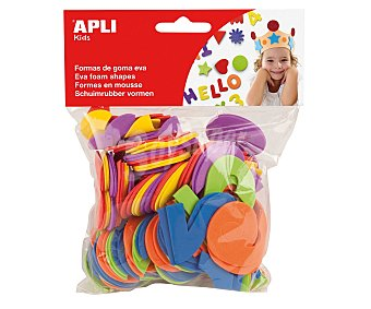 APLI Bolsa de 104 letras de goma eva y colores surtidos apli