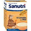 Papilla de 8 cereales con miel con gluten para bebés a partir de 6 meses 600 gramos Sanutri