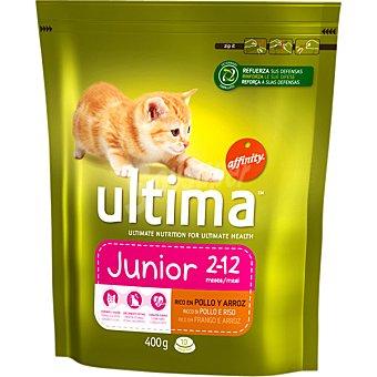 Ultima Affinity Alimentación Ultima Junior para gatos hasta 12 meses con pollo y arroz  Paquete 400 g