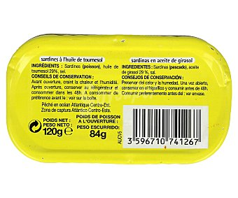 Productos Económicos Alcampo Sardinas en Aceite de Girasol 84 Gramos
