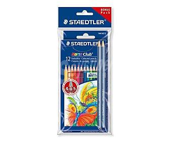Staedtler Caja de 12 pinturas de colores brillantes + 2 lápices normales de escritura de dureza HB 1 unidad
