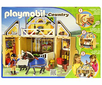 PLAYMOBIL Playset Establo de caballos en cofre, modelo 5418 Country Country Establo Cofre