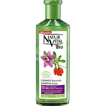 Natur Vital Champú Bio Reparador con Aloe Vera y Goji hidrata y nutre Frasco de 300 ml