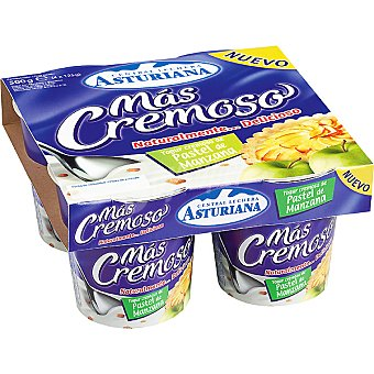 MAS CREMOSO Yogur especial de pastel con manzana Pack 4 unidades 125 g