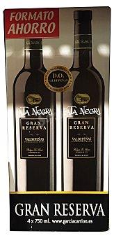 PATA NEGRA Vino tinto Valdepeñas gran reserva 4 botellas de 75 cl