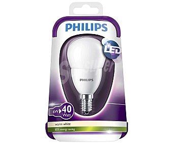 Philips Bombilla led esférica 6 Watios, con casquillo E14 (fino) y luz cálida 1 unidad