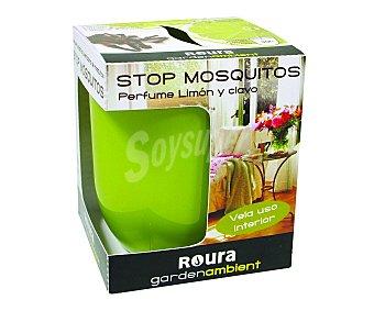 Roura Vela en vaso de cristal verde, olor a limón y clavo repelente de mosquitos roura