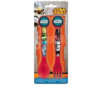 Disney Set de cuchara y tenedor de de polipropileno con diseño de Star Wars 1 unidad
