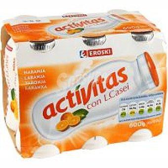 Eroski Activitas naranja Pack 6x100 ml