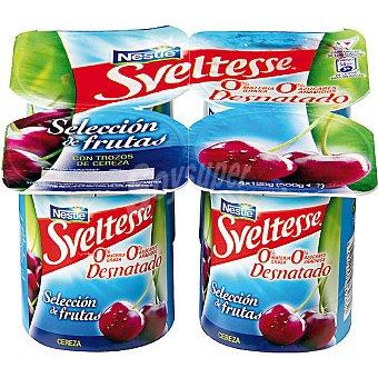 Sveltesse Nestlé Yogur desnatado 0% Selección de frutas con cerezas Pack 4 unidades 125 g