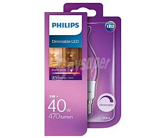 Philips Bombilla led vela golpe de viento de 5W, con casquillo E14 (fino) y luz cálida philips