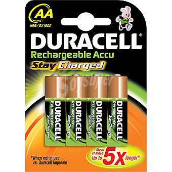 Duracell Pila recargable Active Charge AA (hr6 dx1500) blister 4 unidades 4 unidades