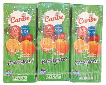 Hacendado Frutas+leche caribe (brick verde) 6 x 200 cc