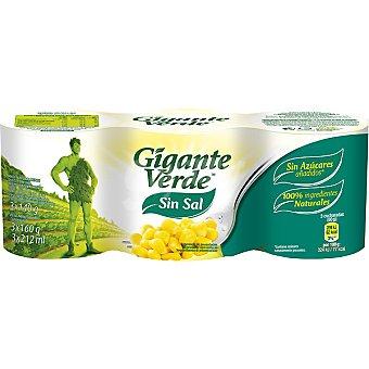 Gigante Verde Maíz sin sal Pack 3x140 g