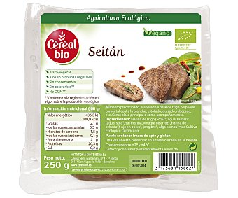 CEREAL BIO Seitán (alimento precocinado, elaborado a base de trigo, se puede comer tal cual, a la plancha, estofado, guisado, rebozado, etc...) 250 gramos