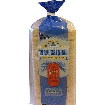 HIPERCOR pan de molde blanco 100% natural sin corteza 20 rebanadas  bolsa 450 g