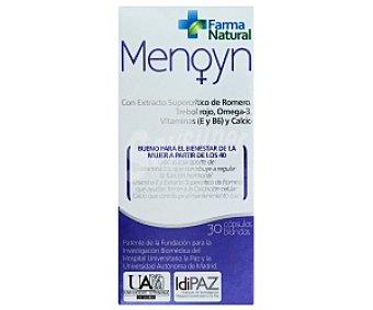 MENOYN Complemento alimenticio, con extracto Supercrítico de Romero, Trébol rojo, Omega 3, Vitaminas (E y B6) y calcio. Bueno para el bienestar de la mujer a partir de los 40 30 C