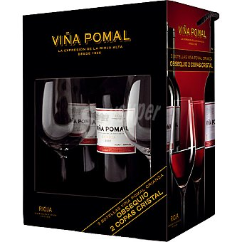 Viña Pomal Vino tinto crianza D.O. Rioja + 2 copas de cristal de regalo Estuche 3 botellas 75 cl