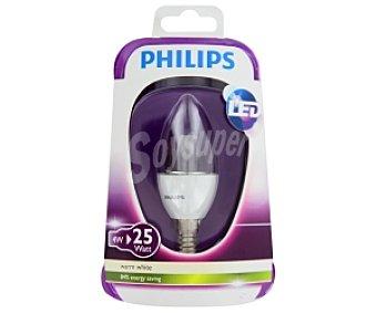 Philips Led Vela 4W(equivalencia 25W), casquillo E14, clara , forma B35, no regulable 1u