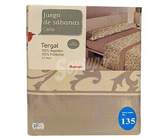 Auchan Juego de sábanas etampadas, modelo Robledo en tonos bisón para cama de 135 centímetros, 1 unidad