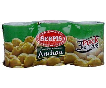 Serpis Aceitunas verdes manzanilla rellenas de anchoa 3 unidades de 50 gramos