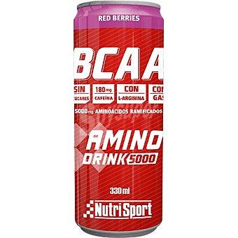 Nutrisport Bcaa Aminodrink 5000 bebida de aminoácidos ramificados con sabor a frutos rojos sin azúcares y sin cafeína Lata 33 cl