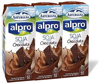 Alpro Asturiana Batido de soja sabor chocolate sin colesterol con Calcio  pack 3 envase 250 ml