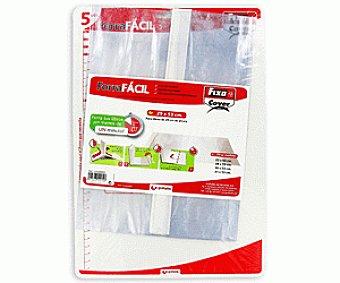 FIXO Lote de 5 forralibros de polipropileno con solapa ajustable, tira adhesiva reposicionable y de 29x53 centímetros 1 unidad