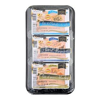 Valdycomer Bandeja de pates con queso Pack de 3x100 g
