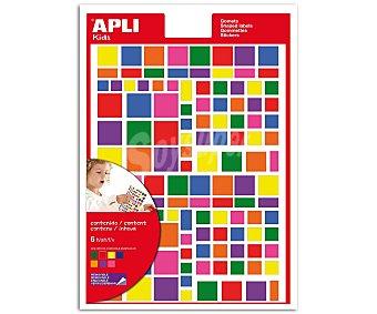 Appli Hoja de gomets adhesivos y removibles multicolor, basados en formas cuadradas de diferentes tamaños apli 6 unidad
