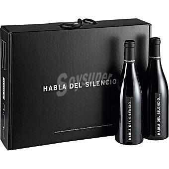 HABLA DEL SILENCIO Vino tinto de Extremadura Estuche 2 botellas 75 cl + sacacorchos y antigoteo Estuche 2 botellas 75 cl