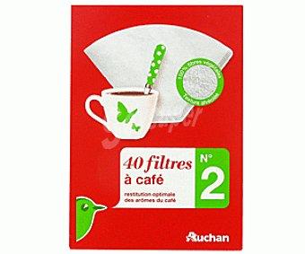 Auchan Filtro cafetera N.2 por 40 unidades auchan 40 unidades