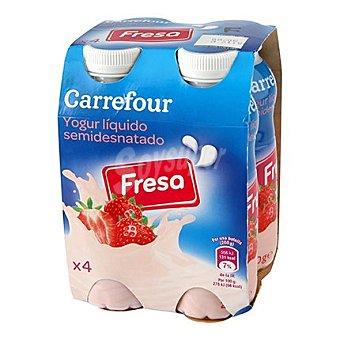 Carrefour Yogur liquido semidesnatado de fresa 4 unidades de 200 ml