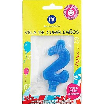 NV. Vela de cumpleaños azul nº2 blister 1 unidad 1 unidad