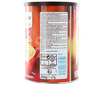 Auchan Cappuccino clásico suave y cremoso con dispensador de chocolate en polvo y cacito dosificador 252 gramos