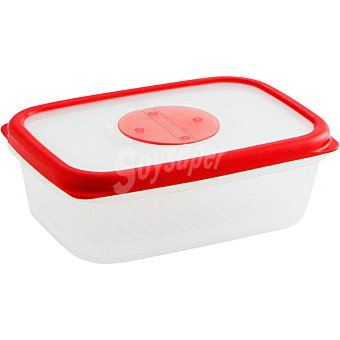 QUID Frigo-Box Hermético Rectangular transparente con filo rojo 1 l