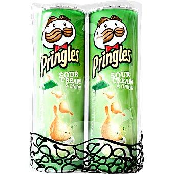 Pringles Duplo de patatas fritas sabor sour cream & onion  2 envases de 165 g