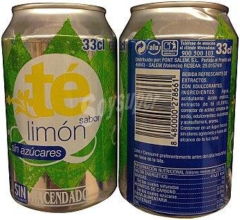 HACENDADO Refresco té limón sin azúcar LATA 330 cc