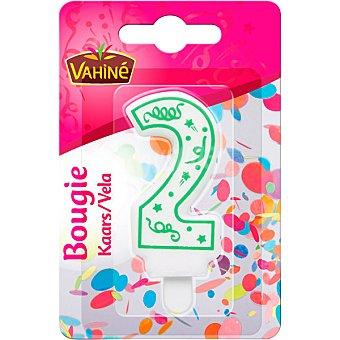 Vahiné Vela de cumpleaños número 2 colores surtidos blister 1 unidad blister 1 unidad